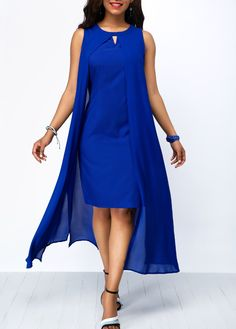 Long Maxi Dresses Royal Blue Overlay Keyhole Neckline Chiffon Dress Source by cingilayla Blue Chiffon Dresses, Royal Blue Dresses, Royal Blue Outfits, Tight Dresses, Sexy Dresses, Casual Dresses, Cheap Dresses, Pretty Dresses, Beautiful Dresses