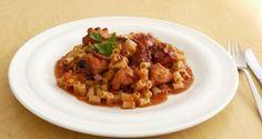 χταπόδι με κοφτό μακαρονάκι, το θαλασσινό ραγού - Pandespani.com Greek Recipes, Chana Masala, Risotto, Pork, Pasta, Vegan, Ethnic Recipes, Sweet, Gastronomia
