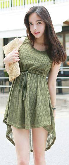 Luxe Asian Korean Women Fashion Ram bling Khaki Dress