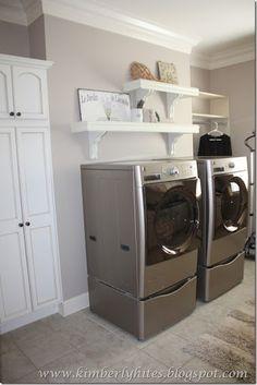 "gray laundry room Sherwin Williams ""Versatile Gray"""