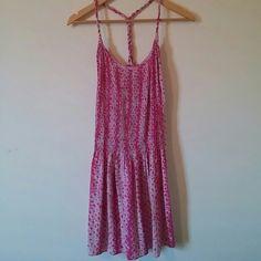 Banana Republic silk dress. I will pay 1/2 shippin Silk- Pink and white tie dye dress. Rope t-back- twisted. Light and beautiful. Banana Republic Dresses