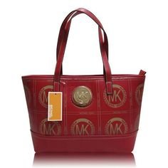 Michael Kors Jet Set Big Logo Medium Red Totes