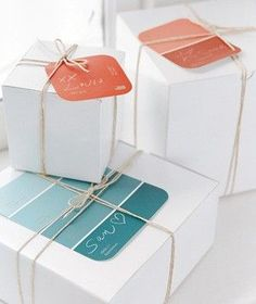 Pretty Packages / Paint chip gift tags...definitely doing this! (wrapping)