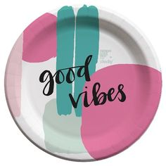 """designlovefest™ and Cheeky® are teaming up on a fun limited-edition collection to help end hunger. Add a little fun to an everyday lunch or dinner with designlovefest for Cheeky 7"""" paper plates. The plates have a bold paint brush stroke pattern in hot pink and green and say """"good vibes."""" With every pack you buy, Cheeky will help provide a meal* to someone right here in the U.S. through our partnership with Feeding America®. Make every day a designlovefest. designlovefest for Cheeky."""
