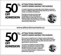 Sainte-Marie among the Hurons - 2015 Summer Coupon Ontario Attractions, Coupons, Summer, The Park, Summer Time, Coupon
