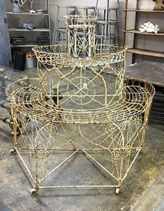 """Antique French Plant Stand with Great Design on Rollers  Dealer #5217  44"""" Wide x 28"""" Deep x 46.5"""" High   $425  Lucas Street Antiques Mall 2023 Lucas Dr.  Dallas, TX 75219  Like us on Face"""