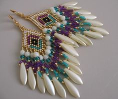 Seed Bead Earrings - Violet/Teal - Copyright 2012 - Patti Ann McAlister. on Etsy, $30.64 AUD