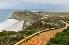 Wooden path with beautiful sea view. Cliffs and ocean at Cape of Good Hope, South Africa