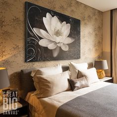 Large white floral canvas art that adds a dramatic elegance to your space. Shop now at GreatBIGCanvas.com.