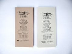Manually stamped flyer for a jazz event by Eszter Laki, via Behance