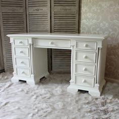 Canterbury Range - Cream Wooden Twin Pedestal Desk Table