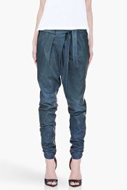 HELMUT LANG blue combo pleated Leather Pants