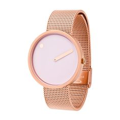 A rose gold finish and light pink hue adds a touch of elegance to the Picto watch by Rosendahl.    #rosegold #designerwatches