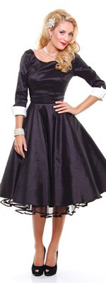 Retro Unique Vintage Donna Reed Black 1950s Style Scoop Neck Swing Dress with Contrast Cuffs $128.00