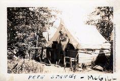 « Just woke up » This is Pete Stanley. Probably from the 1930's. This a real rustic tent installation. /// C'est Pete Stanley, photo probablement prise dans les années 1930. C'est une installation extérieure très rustique! #vintagemen #mcgill #summertime #sexyman ☀️☀️☀️