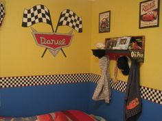 Disney Cars Lightning Mcqueen/ Mater Room, My 3 year old is a fan of the Disney Cars movie. His favorite car being Lightning Mcqueen and Mater. I was inspired by the rug and the checkered border around it., Boys Rooms Design