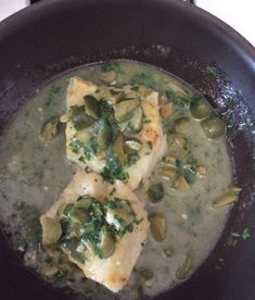Pan roasted cod with green olives - Cook With Gusto New Tork Times, Roasted Cod, Non Stick Pan, Roasting Pan, Olives, Fish, Cooking, Green, Kitchen