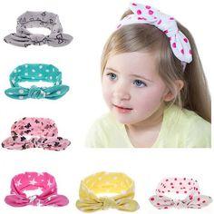 20 colors Lovely Bow Headband Rabbit ears Hairband Turban Knot Headwear