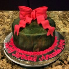 Girly camo birthday cake