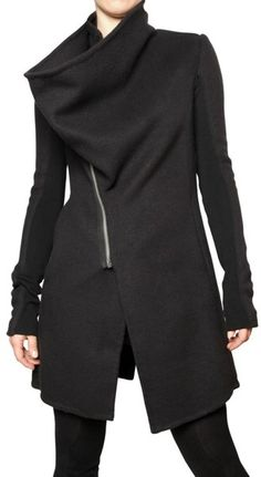 Rick Owens Black Ring Collar Double Cashmere Coat