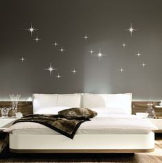 Add these star decals to any surface and make it sparkle! Great for decorating a girls room or nursery. Our smaller sizes are good for use on laptops, cars, mirrors, etc. The sizes that this decal is available in are listed below. The decal sheet comes with stars that you can place in whatever design you choose for your surface. The possibilities are endless!  11x18: 3 5x5 stars & 9 3x3  15x24: 1 10x10 star, 4 5x5 stars, & 14 3x3 stars  23x37: 3 10x10 stars, 14 5x5 stars & 15 3x3 ...
