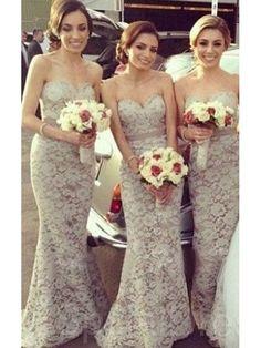 ELEGANT SWEATHEART MERMAID/TRUMPET FLOOR-LENGTH DRESSES FOR BRIDESMAID WITH LACE