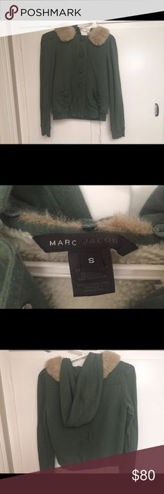Marc Jacobs Coat - fall 2016 color- army green Marc Jacobs sweatshirt jacket with faux fur hoodie. Hoodie is removable. Marc Jacobs Jackets & Coats