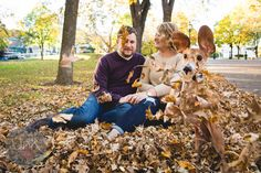Louie's leaf frenzy didn't come as a surprise to Determan and Kluthe. | This Dog Perfectly Photobombed His Owners' Engagement Photos