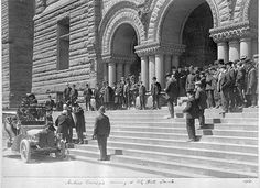 """Great article on Toronto's early Carnegie libraries in: """"Historicist: Andrew Carnegie's Toronto Legacy""""  By Kevin Plummer.    Seen here is a photo of Andrew Carnegie at Toronto Old City Hall (TRL 969 12 2) from the collection of the Toronto Public Library."""