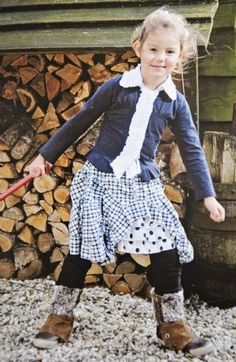 Fall 2012 PreorderGirls Navy Bustle Skirt & Pearl Button Ruffle Collar Top4 to12 Years