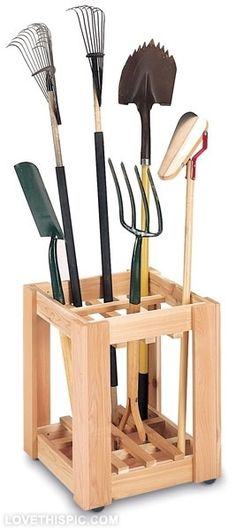 Garden tool rack. This looks like it'd be simple to make.