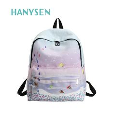 53ecc12e9883 2017 New Women Cartoon Embroidered Canvas Backpack Cartoon Lovely Bags  Fashion School Bag For Teenage Girls