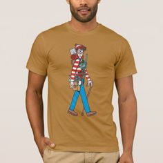 Shop Where's Waldo with all his Equipment T-Shirt created by WheresWaldo. Personalize it with photos & text or purchase as is! Wheres Waldo, American Apparel, Your Skin, Heather Grey, Fitness Models, How To Make, How To Wear, Unisex, Stylish