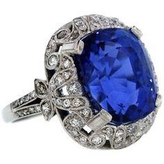 GIA Certified 11.78 Carat No Heat Burma Sapphire Platinum Ring