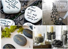 Such a cute idea for wedding, shower, graduation, etc. have guests sign stones with notes and then put into vase to display at home