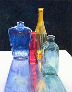 Glass Bottles Art Watercolor Painting Print by Cathy Hillegas, watercolor print, red blue yellow teal black, 8x10, still life watercolor