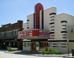 The Normal Theater is a fully restored Art Deco movie theater in Normal, IL. Built in 1937, it was a state-of-the-art cinema and has shown the latest in film entertainment for more than 50 years until the theater closed in May 1990. The Town of Normal purchased the theater in 1993 and restored it to its present fully operational condition. National Register of Historic Places #97000818. Normal Theater, Normal, IL by jburton.il, via Flickr