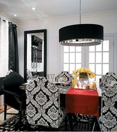 Black & White dining room with a touch of red