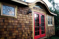 red french doors  What is not to like about these doors! Check ou the inside, beautiful tiny house.