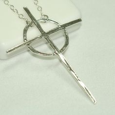 Celtic Cross Necklace Silver Cross by MaggieMcManeDesigns on Etsy