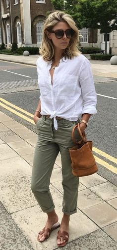 summer outfits White Shirt / Khaki Pants / Brown Sandals