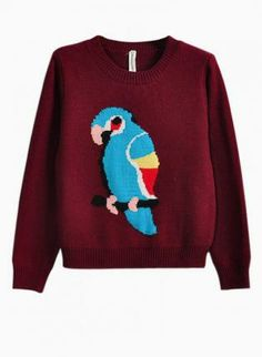 Wine Red Parrot Print Sweater #jumper #knit #comfy #animal