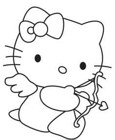 Cupid Hello Kitty Valentine Coloring Pages