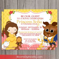 Beauty and the Beast Invitation Belle DIY by BloomsDigital, $6.50