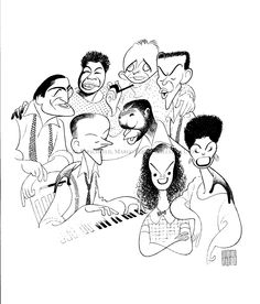 """American Popular Song: Great American Singers - Tony Bennett, Ella Fitzgerald, Bing Crosby, Frank Sinatra, Lena Horne, Judy Garland, Nat 'King' Cole, and Fred Astaire:  Hand signed by Al Hirschfeld  Limited-Edition Lithograph  Edition Size: 225  Commissioned by the Smithsonian Institution  29"""" x 21"""""""