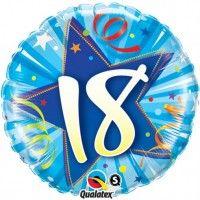 """18th Birthday Blue 18"""" Foil Balloon in a box"""