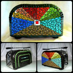 Brandnew toaster with colorful handmade glass mosaics decoration. An unique accessory for the kitchen. The mosaic decoration is very durable, doesn't effect the proper working of the toaster. Mosaic Designs, Huf, Toaster, Mosaic Glass, Mosaics, Zip Around Wallet, Furniture Design, Colorful, Decoration