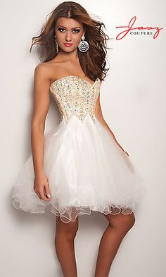 White Strapless Dress with Tulle Skirt at SimplyDresses.com