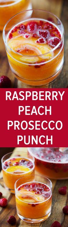 Raspberry Peach Prosecco Punch | http://www.tablefortwoblog.com