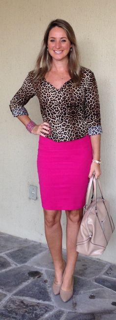 Look de trabalho - moda corporativa - look do dia - saia lápis - pink e animal print - leopard and pink - pencil skirt